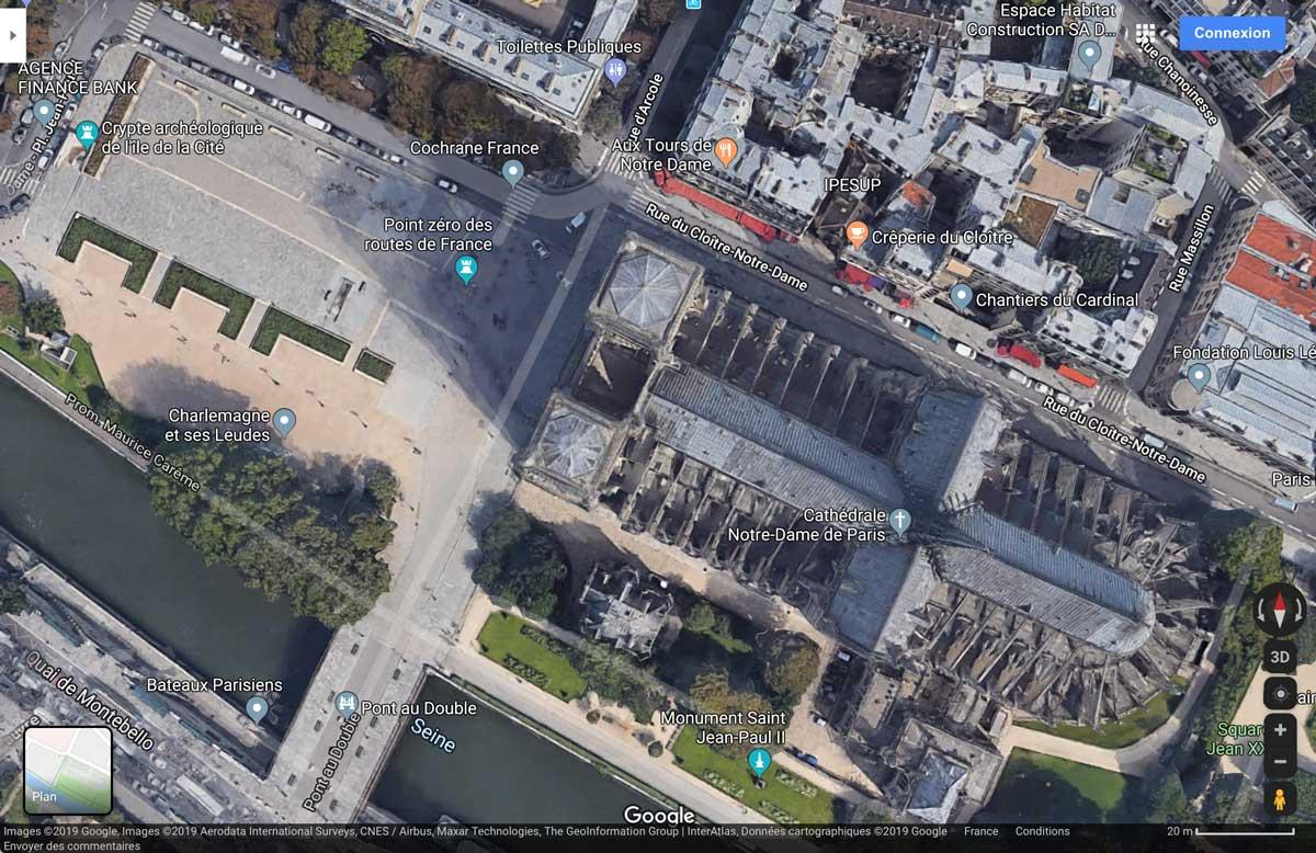 Copie d'écran, Notre-Dame de Paris, GoogleMaps, 24-08-2019